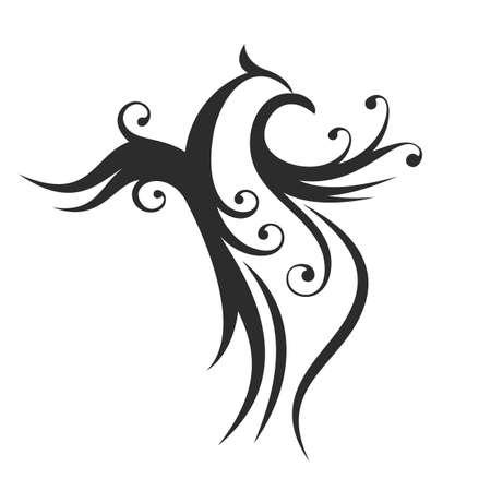 tatouage oiseau: R�sum� ligne de la silhouette de l'oiseau fond. D�coratif isol� phoenix illustration