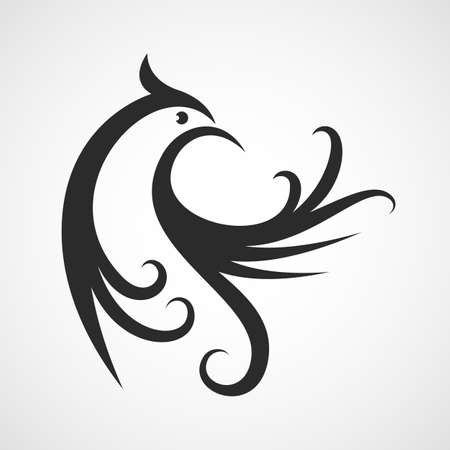 tattooing: Vector design template. Abstract bird silhouette background. Isolated decorative phoenix illustration.  Illustration