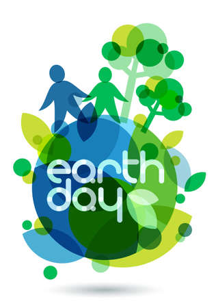 二人のシルエットと、地球上の緑の木々。抽象的なベクトル イラスト。生態背景の概念は、地球の日を保存します。