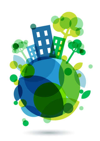 earth pollution: Colorful house silhouette and green trees on the Earth. Abstract vector illustration. Ecology background, concept for save earth day. Illustration