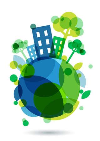 wereldbol: Kleurrijke huis silhouet en groene bomen op de Aarde. Abstracte vector illustratie. Ecologie achtergrond, concept voor sparen aarde dag.