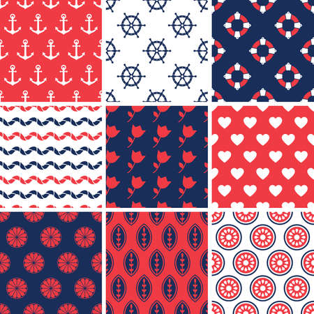 Set of simple seamless abstract summer patterns. Vector colorful background. Vector