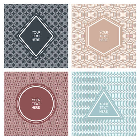 rimmed: Vector set of simple abstract frame and seamless pattern. Line badges and labels background with place for text.