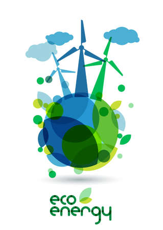 Wind alternative energy generator on the green Earth. Abstract vector illustration. Ecology background, concept for save earth day.