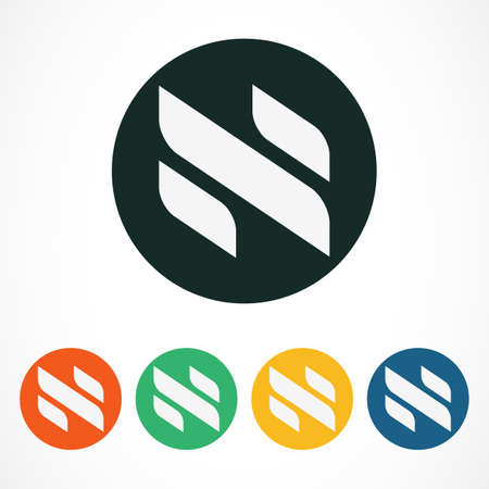 n: Vector logo design template. Abstract letter N in colorful circles. Business technology concept symbol.