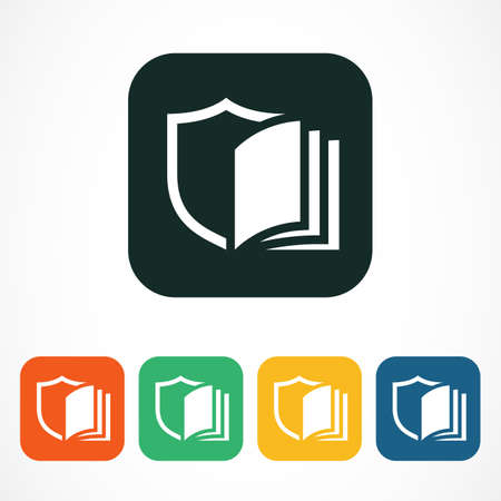 education technology: Vector  design template.  Shield and open book line symbol in colorful square. Business technology, education, study concept.