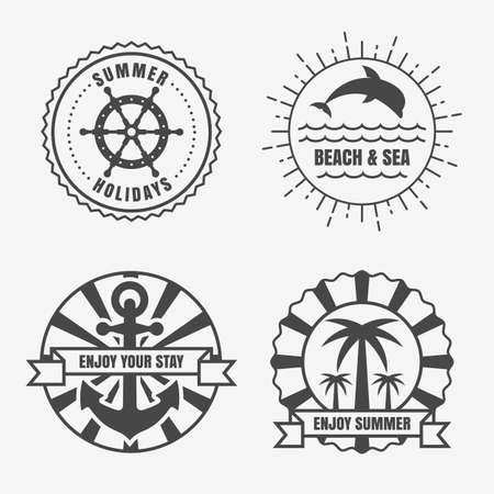 ship steering wheel: Set of sea and summer nautical signs, badges and labels. Vector line illustration of anchor, sun, dolphin, palm tree and ship steering wheel.