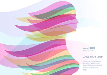 Beautiful girl silhouette with colorful streaming hair. Vector abstract background. Design concept for beauty salon, massage, cosmetic and spa. Ilustração