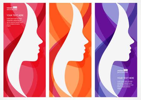 美しさ: 女性の顔のシルエットのベクターの抽象的な背景のセットします。美しい少女のプロフィール。ビューティー サロン、マッサージ、化粧品、スパの抽象的なデザイ