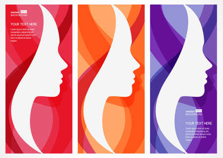 bellezza: Set di vettore sfondo astratto con volto di donna silhouette. Profilo della bella ragazza. Concetto di design astratto per salone di bellezza, massaggi, estetica e benessere.