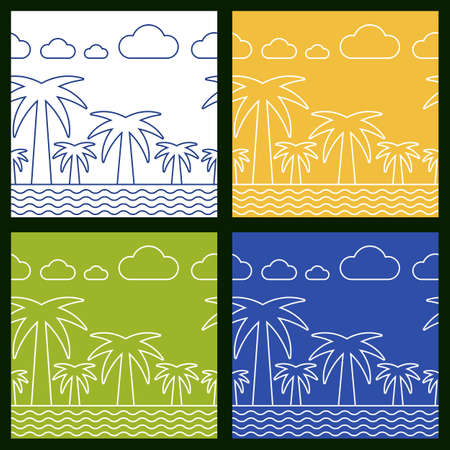 Set of summer beach vector seamless background. Palm tree, sea and clouds line silhouette illustration. Vector
