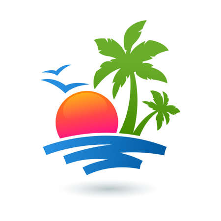 Summer beach illustration, abstract sun and palm tree on seaside. Vector logo design template. Concept for travel agency, tropical resort, beach hotel, spa. Çizim