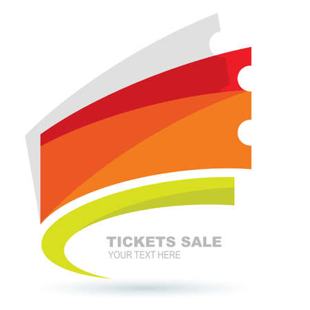 Abstract colorful ticket illustration background. Vector logo design template.