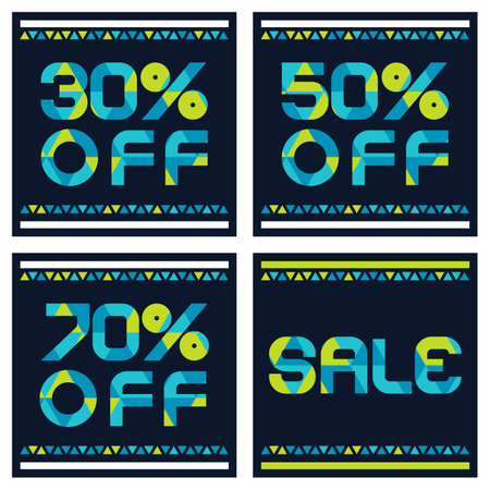 selling off: Sale banner with 30, 50, 70 percent discount. Abstract vector background with blue and yellow triangle pattern. Illustration