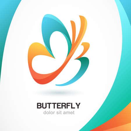 mariposa azul: Resumen hermoso símbolo de la mariposa tropical en el fondo colorido. Logo plantilla de diseño. Concepto para el salón de belleza, cosmética y spa. Vectores