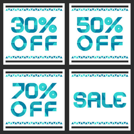 discount: Sale banner with 30, 50, 70 percent discount. Abstract vector background with blue triangle pattern. Illustration