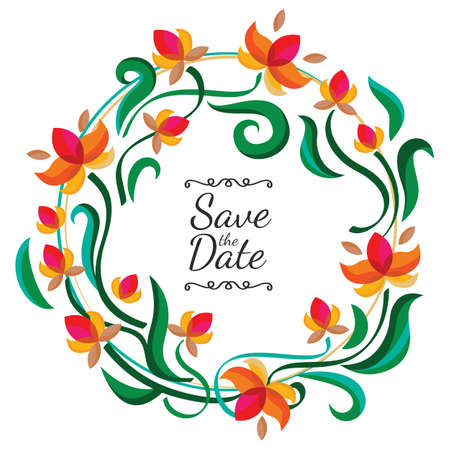 Vector floral frame with abstract colorful flowers. Wedding, birthday or save the date greeting card. Nature background. Vector