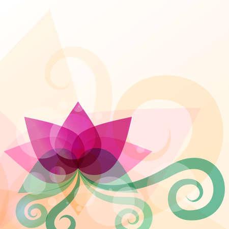 doğa arka: Güzel lotus çiçeği illüstrasyon. Vektör arka plan. Güzellik salonu, masaj, kozmetik ve spa tasarım konsepti. Çizim