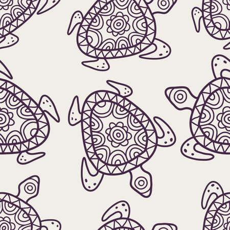 ancient turtles: Vector seamless decorative pattern. Hand drawn turtle tribal background. Illustration