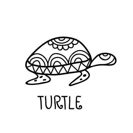 ancient turtles: Hand drawn turtle tribal symbol. Vector decorative illustration background. Logo design template.