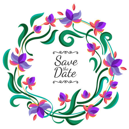 flower borders: Vector floral frame with purple flowers. Wedding, birthday or save the date greeting card. Nature background.