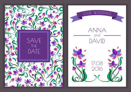 Vector template with seamless floral pattern background. Purple flowers and ribbon illustration. Concept for wedding invitation, greeting birthday card. Vector