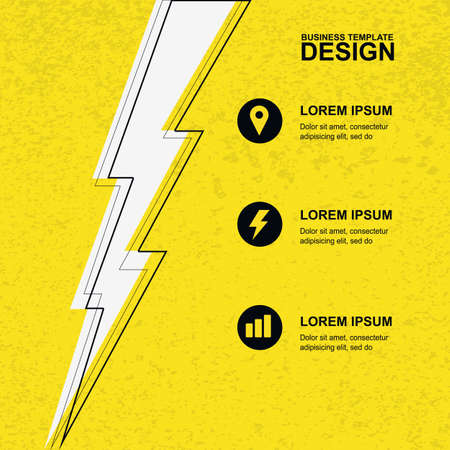 Abstract yellow grunge texture background with black, white lightning and icons. Concept for brochure cover, flyer, poster, business template, energy and electricity theme. Vector