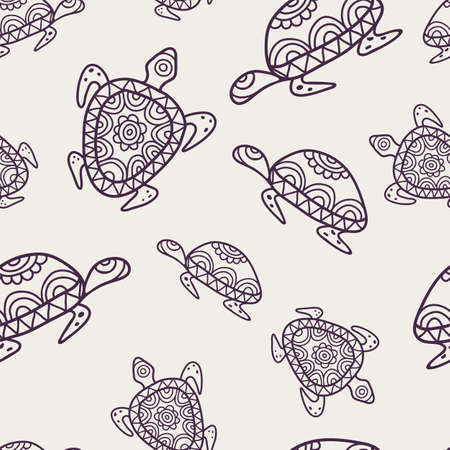 ancient turtles: Vector seamless decorative pattern with ornamental turtles. Hand drawn tribal line background. Illustration