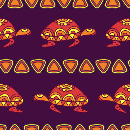 ancient turtles: Vector seamless decorative pattern with multicolor ornamental turtles. Hand drawn tribal purple and orange background. Illustration