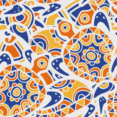 ancient turtles: Hand drawn blue and orange seamless pattern. Vector ethnic background with multicolor ornamental turtles.