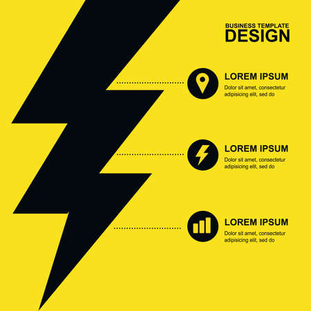 Abstract yellow, black background with lightning and icons. Concept for brochure cover, flyer, poster, business template, energy and electricity theme. Illustration