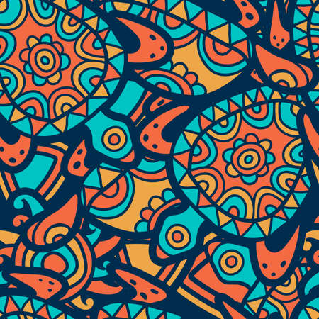 ancient turtles: Hand drawn multicolor seamless pattern. Vector ethnic background with turquoise, orange ornamental turtles.