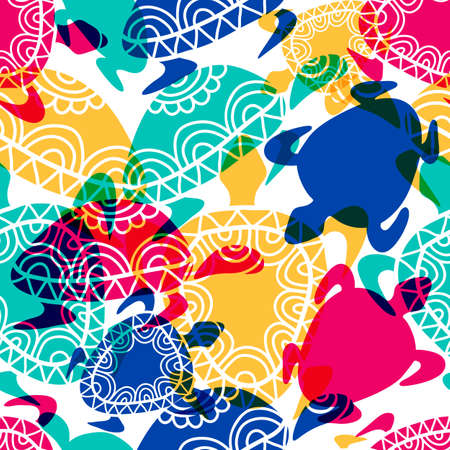 ancient turtles: Vector seamless pattern with transparent multicolor ornamental turtles. Hand drawn background.