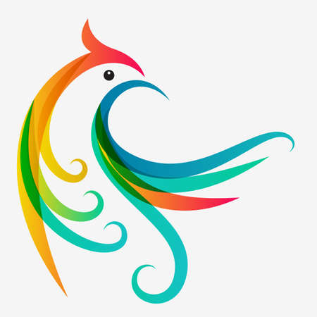 ancient bird: Abstract multicolor tropical bird, logo design template. Vector colorful background.