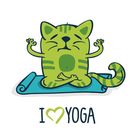 cat stretching: Green cartoon cat on blue mat in yoga position. Vector illustration isolated on white background. Illustration