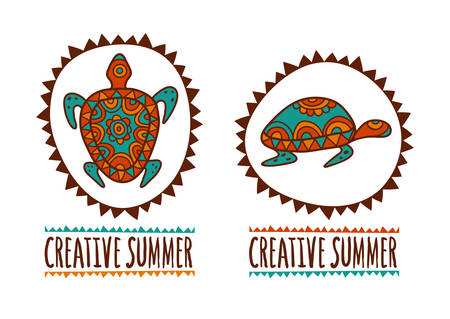 ancient turtles: Hand drawn turtle tribal symbol. Vector illustration isolated on white background. Decorative multicolor background. Logo design template. Creative summer.