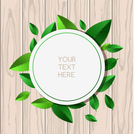 place for text: Natural wooden texture background and round green leaf frame with place for text. Vector spring and summer illustration.