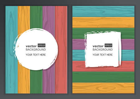 Set of vector wooden texture background with place for text. Horizontal and vertical multicolor wooden boards. Abstract illustration, concept for brochure, flyer, poster. Vector
