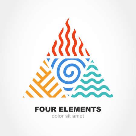 cuatro elementos: Cuatro elementos símbolo simple línea en forma de pirámide. Vector logo plantilla de diseño. Concepto abstracto de la energía la naturaleza, la sinergia, turismo, viajes, negocios. Fuego, aire, agua y signo de tierra.