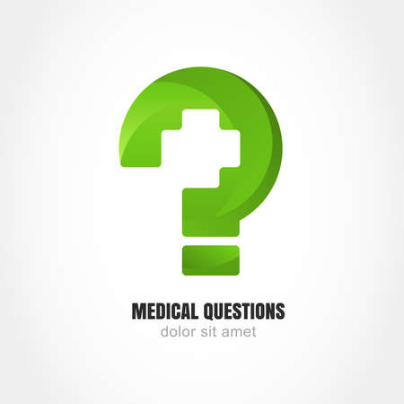 medical person: Green question mark with medic cross symbol. Vector logo design template. Modern concept for medical question web site, clinic, healthy life, pharmacy, online help service.