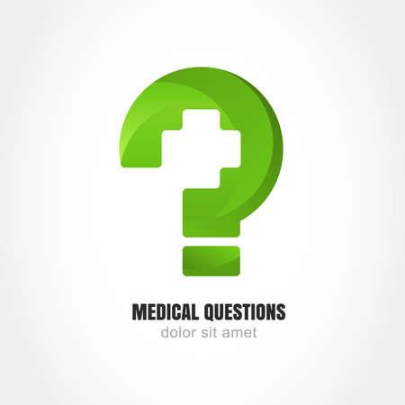 farmacia: Signo de interrogación verde con el símbolo de la cruz médico. Vector logo plantilla de diseño. Concepto moderno de médicos sitio web pregunta, clínica, vida sana, farmacia, servicio de ayuda en línea. Vectores