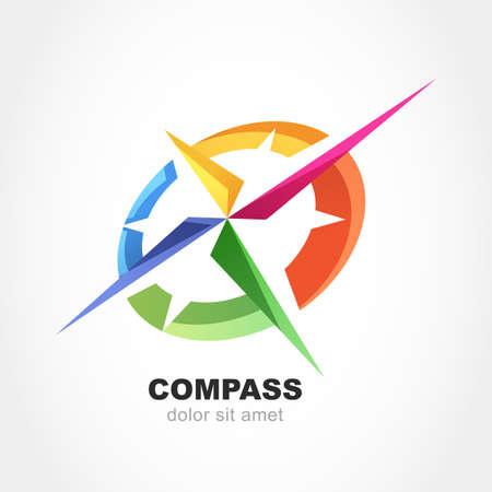 kompas: Abstraktní vícebarevná kompas symbol. Vektorové logo design šablony. Moderní koncept pro cestování, cestovní ruch, obchod, vyhledávání.