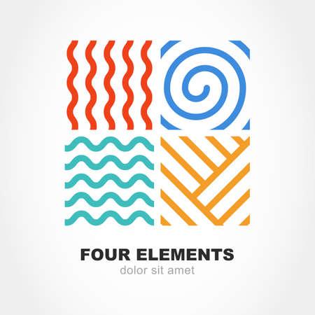 Cuatro elementos simples símbolos de línea. Vector insignia de la plantilla. Concepto de diseño abstracto para la energía naturaleza, turismo, viajes, negocios, sinergia. Fuego, aire, agua y signo de tierra. Ilustración de vector