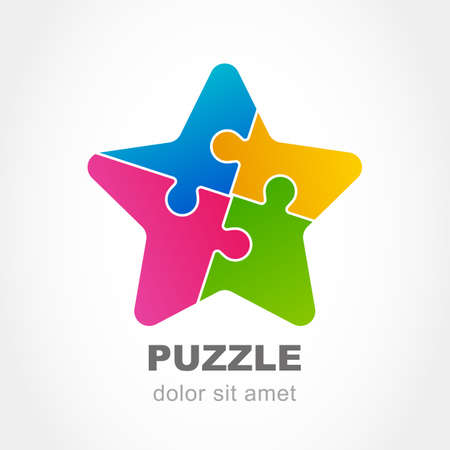 green stars: Puzzle star multicolor icon. Vector logo design template. Modern flat concept for business, logic, development, game, teamwork.
