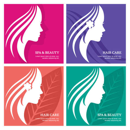 Set of vector abstract background with beautiful woman face silhouette. Profile of the young girl. Abstract design concept for beauty salon, massage, cosmetic spa, greeting card for international women day.