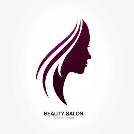 perfil de mujer rostro: Perfil de la cara de la mujer hermosa con fluir el pelo. Vector logo plantilla de diseño. Concepto de diseño abstracto para el salón de belleza, masajes, estética y spa, día internacional de la mujer.