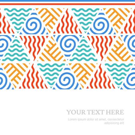 cuatro elementos: Cuatro elementos de la línea simple sin fisuras vector patrón con lugar para el texto. Fondo colorido tribal.
