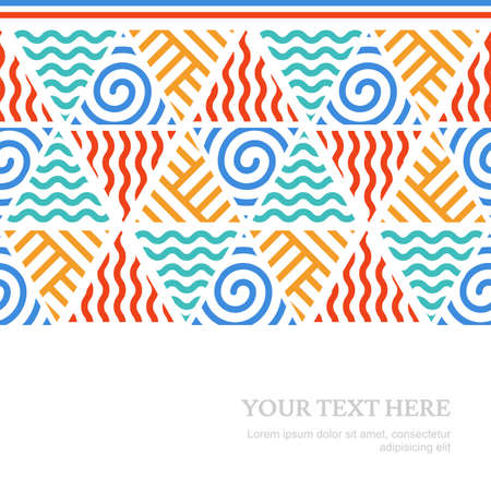 fire water: Four elements simple line seamless vector pattern with place for text. Tribal colorful background. Illustration