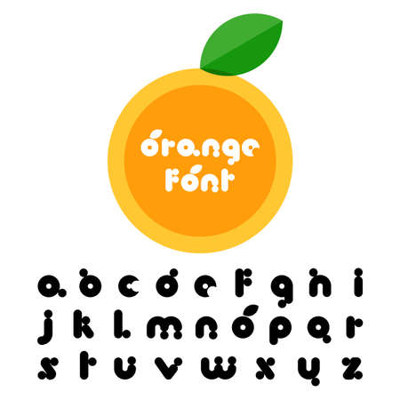 Orange fruit stylized font. Latin decorative alphabet. Vector logo design template. Vector