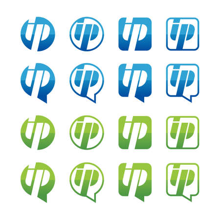 ip address: Set of green and blue ip address icons isolated on white background. Vector logo design template. Round, square and speech bubble shape button.